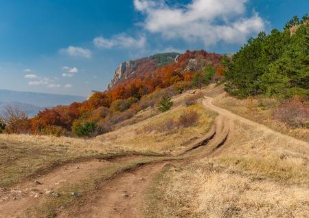 earth road: Seasonal landscape with earth road in mountain pasture Demerdzhi, Crimean peninsula