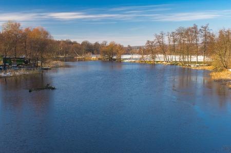 rushy: Tranquil landscape on a Vorskla river at fall morning in Ukraine