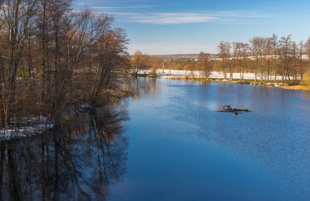 rushy: Morning landscape on a Vorskla river at late fall seasom in Ukraine Stock Photo
