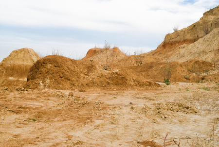 Clay hills in an open pit in Ukraine. Stock Photo