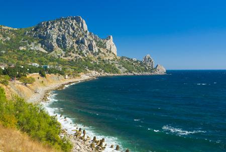 Landscape with Cat Mountain (composite monument of nature) in Blue Bay near Simeiz town Crimea, Ukraine