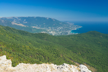 View on Yalta city from the Ai-Petri mountain in Crimea, Ukraine.