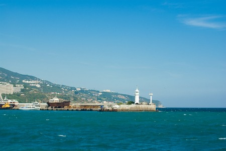 shipway: A view to the lighthouse in Yalta, Ukraine.
