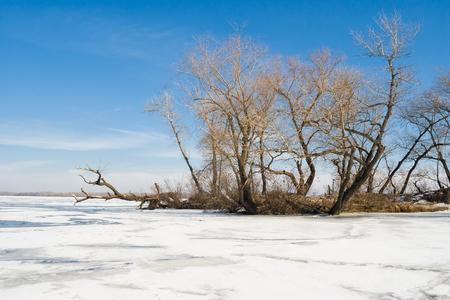 Winter landscape on a big Ukrainian river Dnepr near Dnepropetrovsk city.