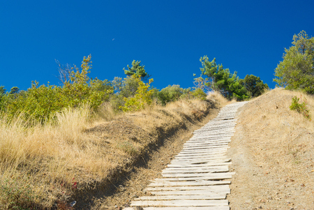 Wooden path to heaven. Stock Photo