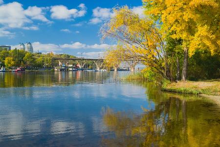rushy: Fall comes to Dnepr river in Dnepropetrovsk city, Ukraine.