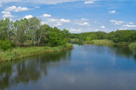 rushy: Landscape with small Ukrainian river Samara at summer season. Stock Photo