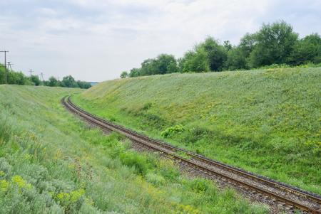 Railway line in greenland landscape.