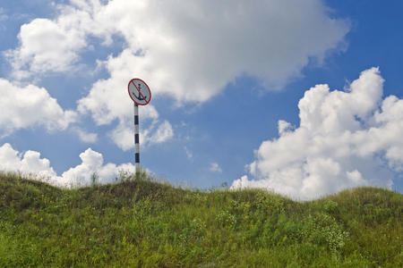 navigable: Sign no anchorage on the land. Stock Photo