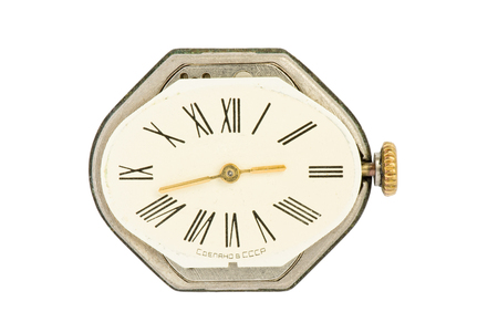 An old Soviet Union womans watch on a white background - macro picture. Stock Photo