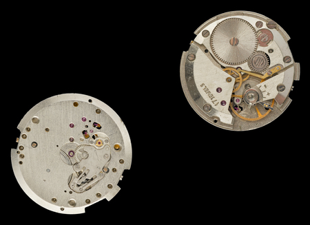 An old clockwork - right and underside. Stock Photo