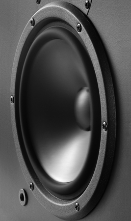 vibrating: Low-frequency loudspeaker with vibrating diaphragm. Stock Photo