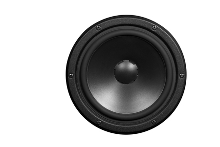 Low-frequency loudspeaker on a white background.
