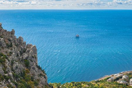 Black Sea shore in Blue bay near Simeiz town, Crimea, Ukraine