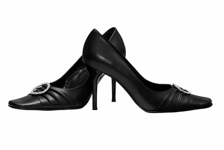 Black womens shoes on a white background (including clipping path). Stock Photo