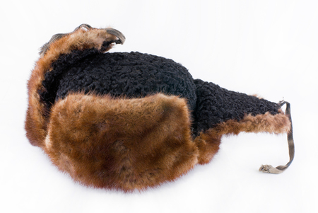 An old fur-cap made from mink and astrakhan.
