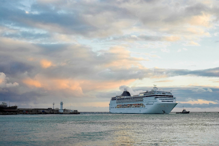 shipway: Big ship call in Yalta port, Crimea, Ukraine.