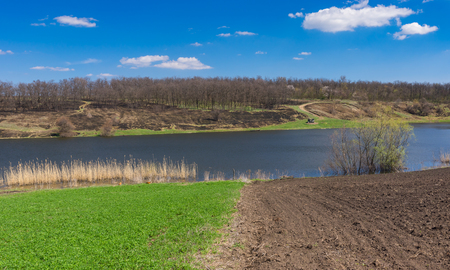 human settlement: Panoramic spring landscape with Suha Sura river in Vasylivka village near Dnepr city, central Ukraine