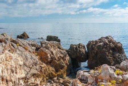 Black Sea shore in natural reserve on Cape Martyan,  Crimea, Ukraine Stock Photo