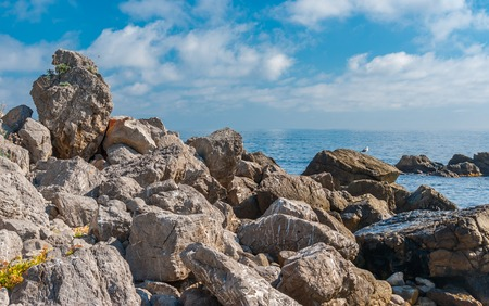 Black Sea shore in natural reserve on Cape Martyan, Crimean peninsula Stock Photo