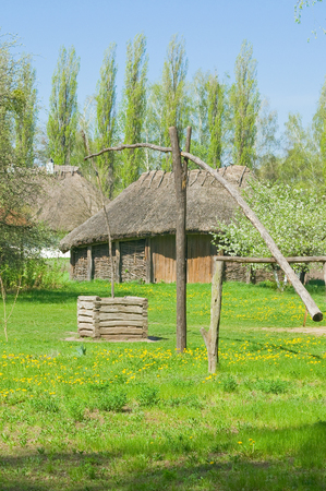 Water well in an old Ukranian village Stock Photo