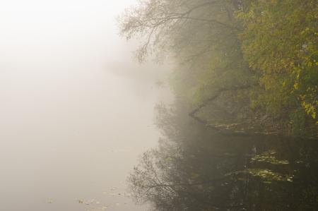 Fog over Vorskla river at autumnal morning, Ukraine