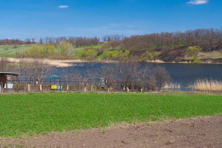 Spring landscape with Suha Sura riverside in Vasylivka village near Dnepr city, central Ukraine 스톡 콘텐츠