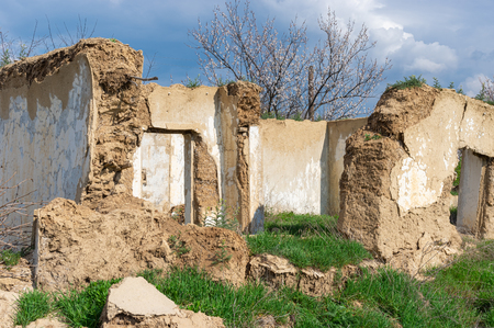 An ancient wattle and daub house ruins in central Ukraine