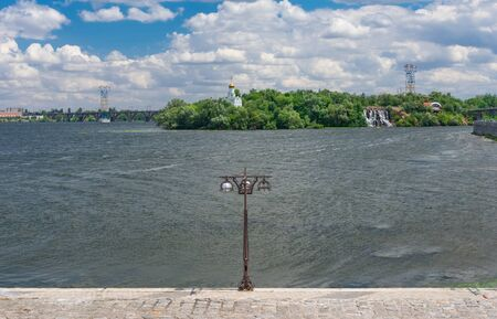 View on Monastyrskyi Island from Dnipro city embankment at summer season