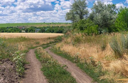 Summer landscape with an earth road near Bratskoe village in central Ukraine Stock Photo