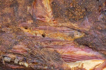 Food background - dried carcass of cow ( beef) close-up