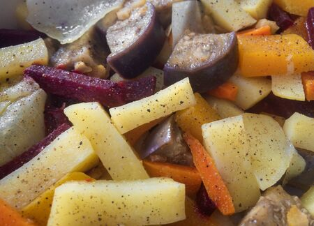Close view on steamed vegetable closeup Stock Photo