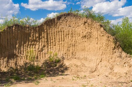 Summer landscape with wall of clay in section in an open clay pit in central Ukraine