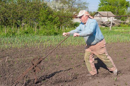 Elderly Ukrainian senior peasant working with hand plough in kitchen garden at spring season Standard-Bild
