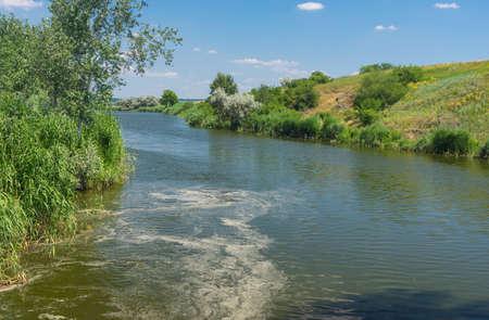 Ukrainian rural landscape with small river Sura at summer season Stok Fotoğraf