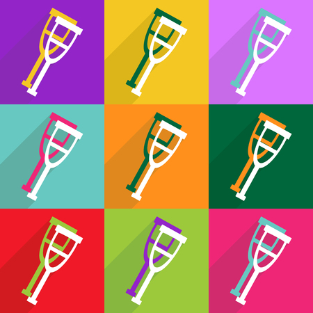 muletas: Flat vector icon with shadow and modern design crutches Vectores