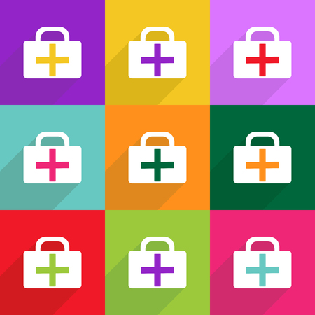 medicine chest: Flat vector icon with shadow and modern design medicine chest