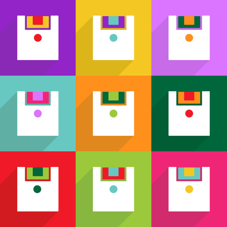 data archiving: Flat vector icon with shadow and modern design Floppy disk Illustration