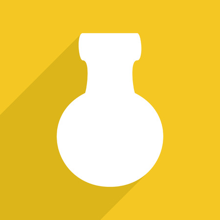 art icons: Flat vector icon with shadow and modern design flask bottle