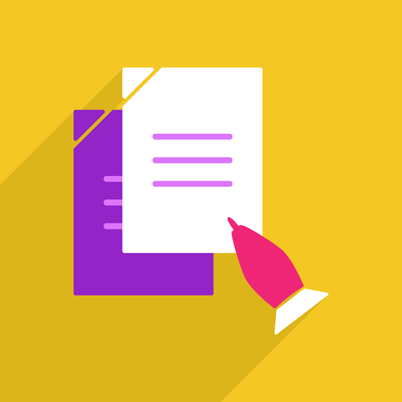 pen on paper: Flat vector icon with shadow and modern design pen paper Illustration