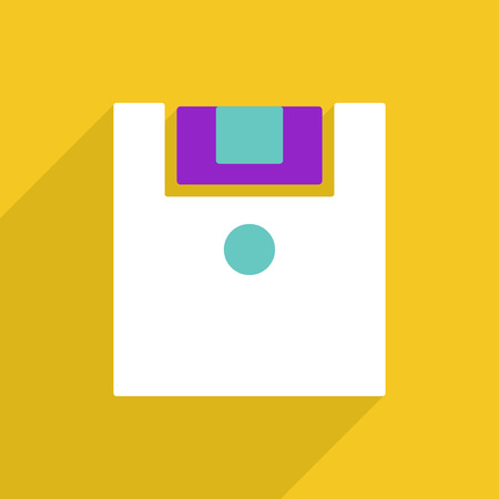 Flat vector icon with shadow and modern design Floppy disk Illustration
