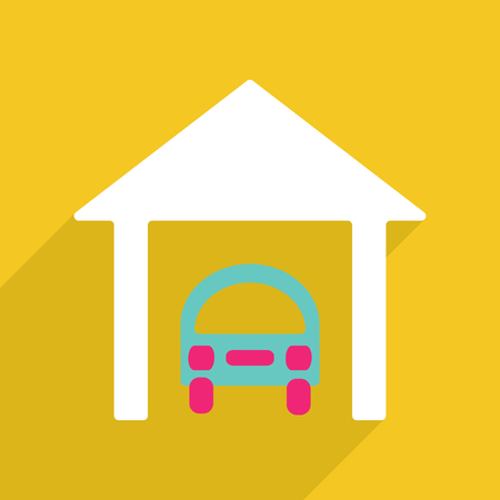 vector image: Flat vector icon with shadow and modern design Car Garage Illustration