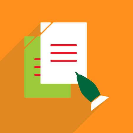 pen and paper: Flat vector icon with shadow and modern design pen paper Illustration