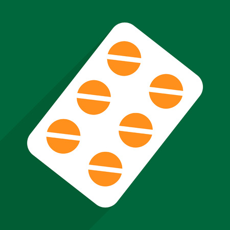 a tablet blister: Flat vector icon with shadow and modern design pills medicine Illustration