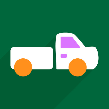 Flat Vector Icon With Shadow And Modern Design Pickup Truck