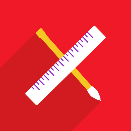 usability: Flat vector icon with shadow and modern design pen ruler
