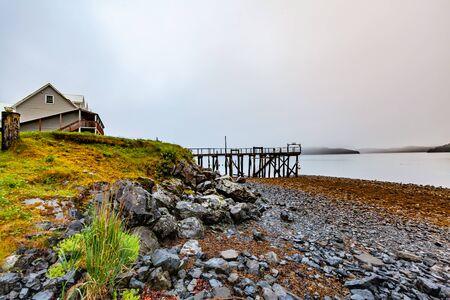 USA, Alaska State, embankment of stones, the lake, the old Wharf