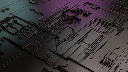 Close up 3d illustration of mother board. Vivd colors pink and blue. Modern and trendy technological background.
