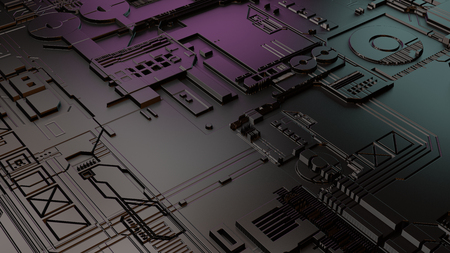 3d rendering of modern phone or laptop motherboard. Latest technological achievment 스톡 콘텐츠