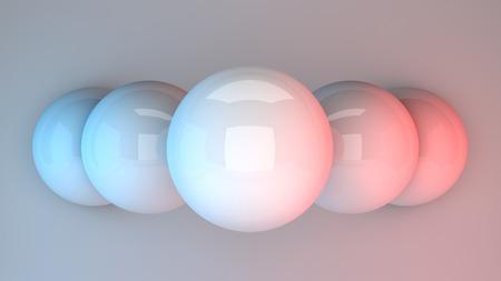 Billiard balls in vivd neon glowing lights. 3d illustration.